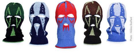 Cinq cagoules-tuques Luchadores de couleurs variées